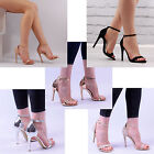 womens ladies barely there strappy party occasion sandal high heel shoe size