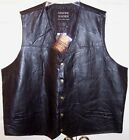 NWT Giovanni Navarre Men's Black Genuine Leather Mosaic Vest, 4X