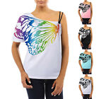 Summer Womens Loose One Shoulder Straps Butterfly Shorts Sleeve T-shirt Tops Tee