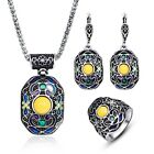 Women Enamel Colorful Flowers Geometric Pendant Dangle Ring Jewelry Sets In Bulk