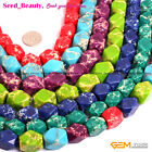 Faceted Dyed 13X18mm Sea Sediment Jasper Stone Jewelry Making Beads Strand 15""