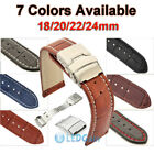 Mens Genuine Leather Watch Strap Band Croco Deployment Clasp Spring Bars US Ship image