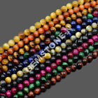 "Natural Tiger's Eye  Round Beads 7.5"" Rose Sapphire Peridot Topaz Mix-Color"