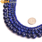 AA Natural Round Genuine Lapis Lazuli Precious Beads For Jewelry Making 15""
