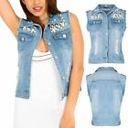 Womens Ladies Beads Collared Rip Faded Destroyed Raw Edges Cropped Denim Jacket