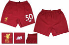 17 / 18 - NEW BALANCE ; LIVERPOOL HOME SHORTS / NUMBERED 50 = ADULTS SIZE*