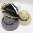 EP Fedora Hat Summer Men's Straw Mesh Porkpie Stingy Brim Dress Trilby Cap