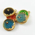 10 pcs Colorful Enamel Plated Round Moon Star Charm Necklace Pendant 27x23mm