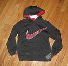 Nike Boys Dark Gray Red Pullover Dri-Fit Hoodie M 5-6 NWT $44