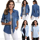 Women Casual Blue Denim Long Sleeve Shirt Cotton Tops Blouse Jacket Flap Pockets