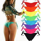 2017 Women Bikini Bottom Brazilian Cheeky Side-Tie V Thong Swimsuit Swimwear FO