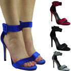 Womens Ladies Ankle Strap High Stiletto Heel Party Sandals Going Out Shoes Size