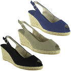 Womens Ladies Canvas Slingback Peeptoe Mid Heel Wedge Party Sandals Shoes Size