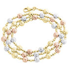 14KT Tri Color Gold 5mm Candy / Moon Cut Italian Bead Chain Necklace 18 Inches
