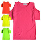 Girls Neon Cold Shoulder T Shirt New Kids Bright Plain Tops Ages 5 - 13 Years
