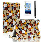For iPad 2 3 4 Smart Cover Cute Lovely Folio PU Leather Case Stand Film + Stylus