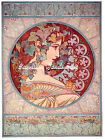 Mucha Lady Cotton Fabric Crazy Quilt Block Multi Sizes M10 Free Shipping