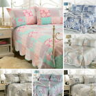 Luxury 3PC Quilted Country Vintage Bedspread Throw & 2 Pillow Shams Double King