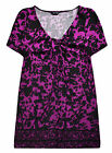 Ladies Floral T Shirt New Womens Plus Size Curve Purple Tunic Top UK 18 - 28
