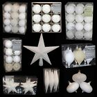 White Collection Christmas Decorations Baubles Stars Cones Hearts Tree Topper