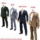 "1/6 Scale Men White Shirt Pants Tie Suit Clothes Set For 12"" Male Body Hot Toys"