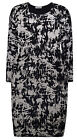 Ladies Abstract Dress New Womens Plus Size Midi Stretch Black Dress UK 14 - 28