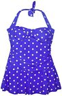 NEW NWSC Women's Swimdress Swimsuit Retro Halter Dot 10 12 14 16 Blue Dot