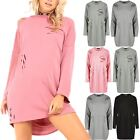 Women Ladies Destroyed Ripped Distressed Oversized Sweater Knit Mini Baggy Dress
