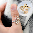 Fashion Paw Print Love Heart Ring Open Adjustable Ring Dog Cat Pet Animal Cute