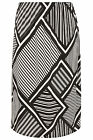 YoursClothing Plus Size Womens Graphic Mixed Stripe Print Jersey Midi Skirt