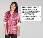 FASHION Print PINK STYLIST BARBER GROOMER JACKET Coat Nylon Hair Water Resistant
