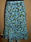 Women's Christopher & Banks Blue Green & White Floral Ruffle SKIRT Great LARGE