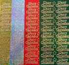 Merry Christmas Super Sparkly Peel Off Sticker Sheet Card Making Craft 4 Colours