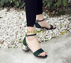 Fashion Womens Block Mid Heel Open Toe Buckle Sandals Ladies Suede Party Shoes@@