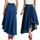 Women Casual Jeans Denim Blue Asymmetric Hem Flare A-Line Maxi Long Skirt Dress