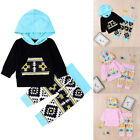 Adorable Newborn Infant Baby Girl Boy Clothes Hooded Long Sleeve Tops+Trousers