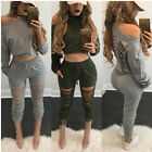 Womens 2 Piece Bodycon Crop Top and Skirt Sets Bandage Party Cocktail Jumpsuit
