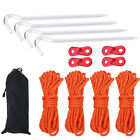Camping Tent Awning Reflective Rope Buckles Stakes Pegs Clips Set Accessories EB