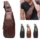 Men's Leather Sling Chest Bag Travel Casual Cross Body Messenger Shoulder Pack