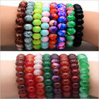 Mixed Natural Round Glass Beads  Agate Stretchy Bracelet