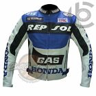 MENS LEATHER MOTORCYCLE JACKETS. Honda Blue White Motorcycle Biker Armour Coat