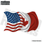 American Canadian Waving Flag Decal USA Canada Car Vinyl Sticker (RH) M55