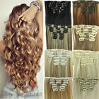 Deluxe Thick Clip In 100% as Real Human Hair Extensions Full Head Hair Piece LLY