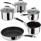 Stellar 5000 Induction Mirror Polished SS Glass Lids Frying Pan Or Saucepan Set