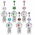 Dreamcatcher Feather Beaded Dangle Belly Navel Ring Body Jewelry