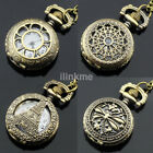 Retro Steampunk Antique Pocket Watch Chain Quartz Pendant Necklace Luxury US image