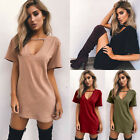 Fashion Women Low Cut Short Sleeve T-shirt Casual Party Solid Ladies Mini Dress