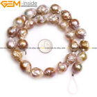 Large Natural Near Round Nuclear Edison Pearl Beads Jewelry Making Strand 15""