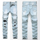 Mens Slim Skinny Ripped Denim Jeans Straight Zip Fly Stretch Hole Trousers Pants