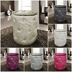 Large Crushed Velvet Diamante Ottoman Storage Box Foot Stool Round Seat Pouffe